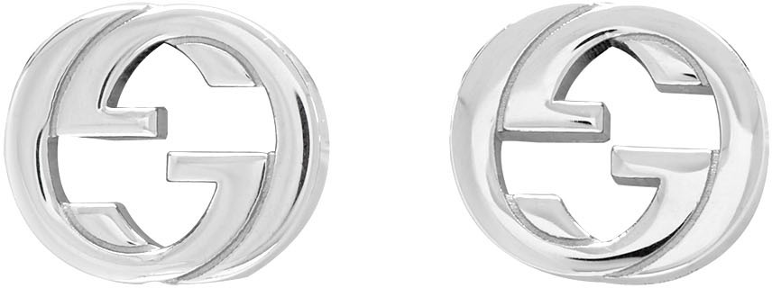 Gucci Jewelry Silver Interlocking G Stud Earrings