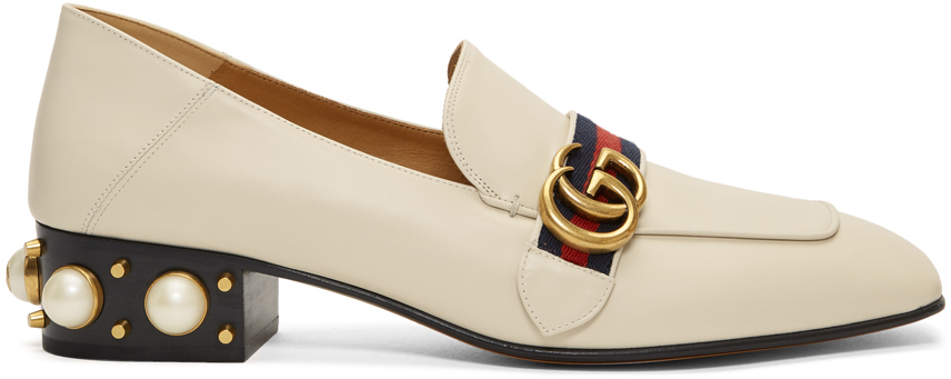 Gucci Shoes White Peyton Pearl Loafer Heels