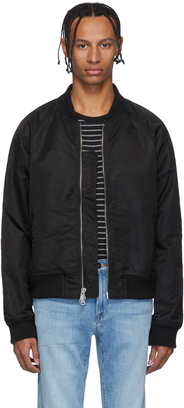 Frame Jackets Black Nylon Bomber Jacket
