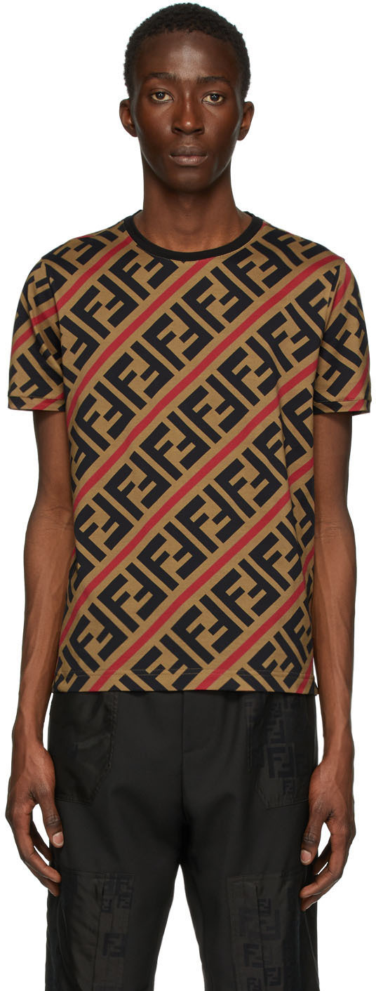 Fendi Beige & Red All Over FF T-Shirt