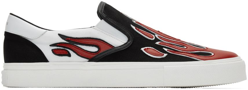 Amiri Sneakers Black & White Flame Slip-On Sneakers