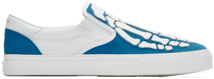 Amiri Sneakers Blue & White Bones Slip-On Sneakers