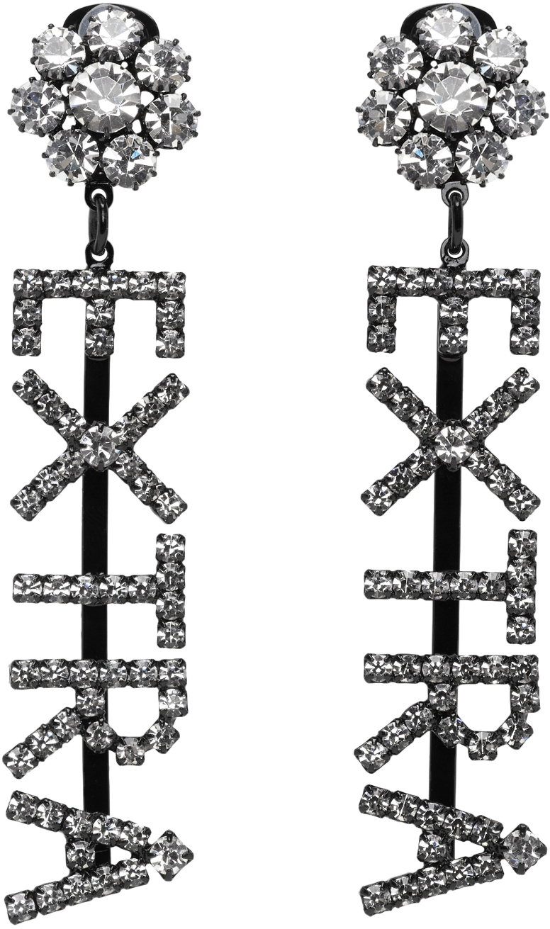 Ashley Williams Black & Transparent 'Extra' Drop Earrings
