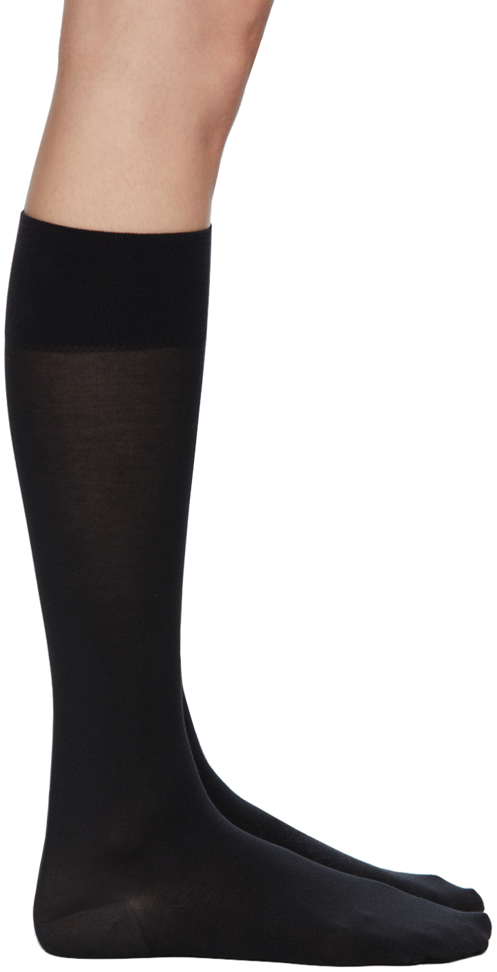 Wolford Black Cotton Knee-High Socks