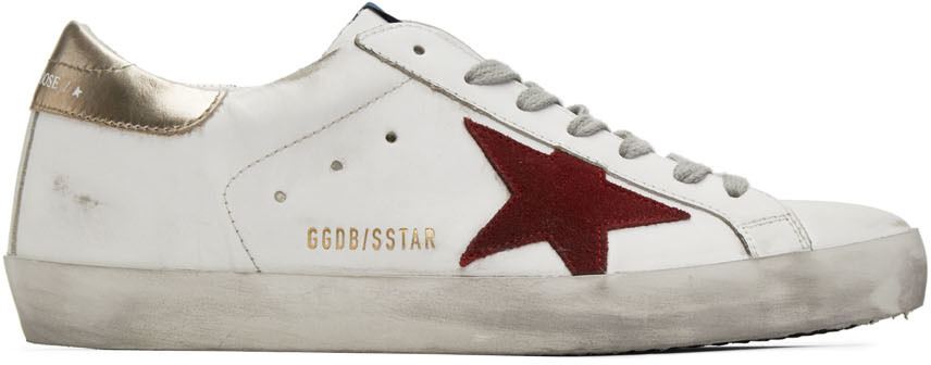 Golden Goose White & Red Superstar Sneakers