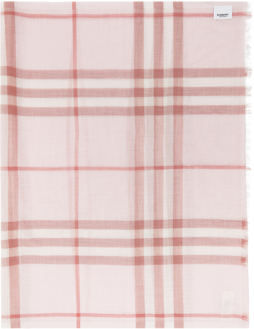 Burberry Pink Check Gauze Giant Scarf