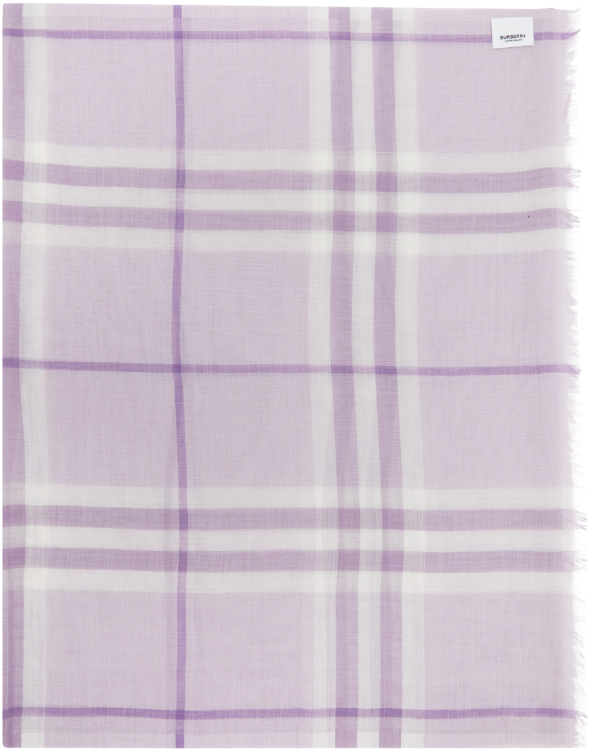 Burberry Purple Check Gauze Giant Scarf