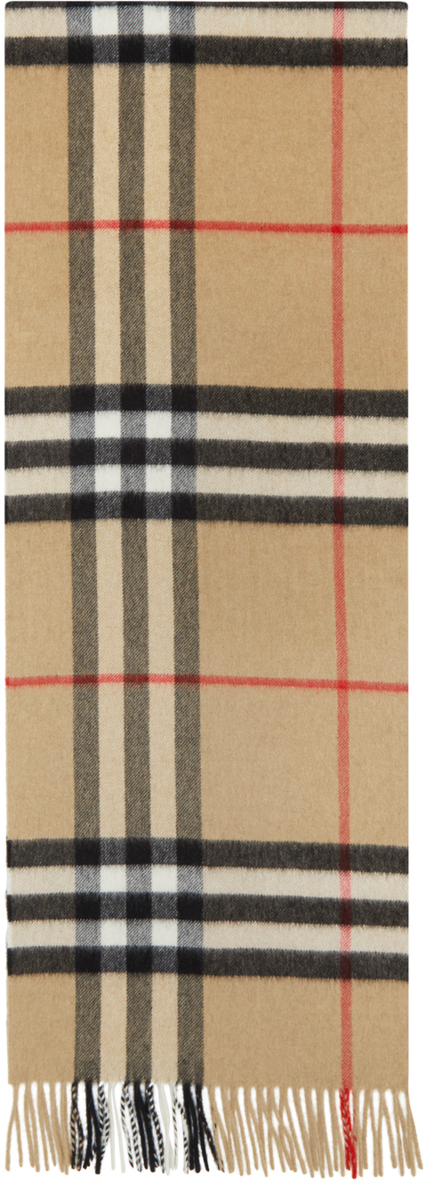 Burberry Tan Check Cashmere Giant Scarf