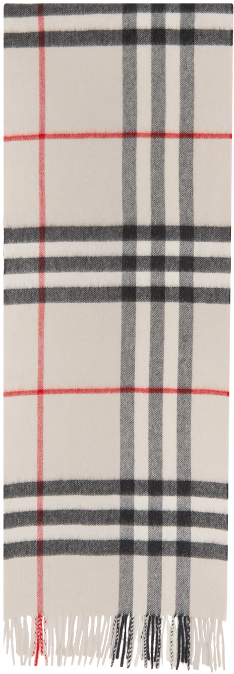 Burberry White Check Cashmere Giant Scarf