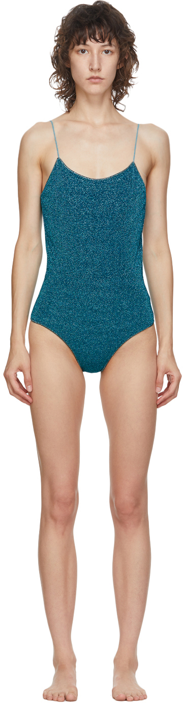 Oseree Blue Lurex Lumiere One-Piece Swimsuit