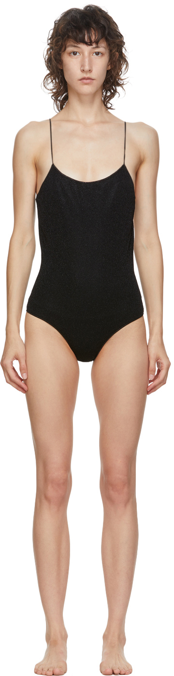 Oseree Black Lurex Lumiere One-Piece Swimsuit