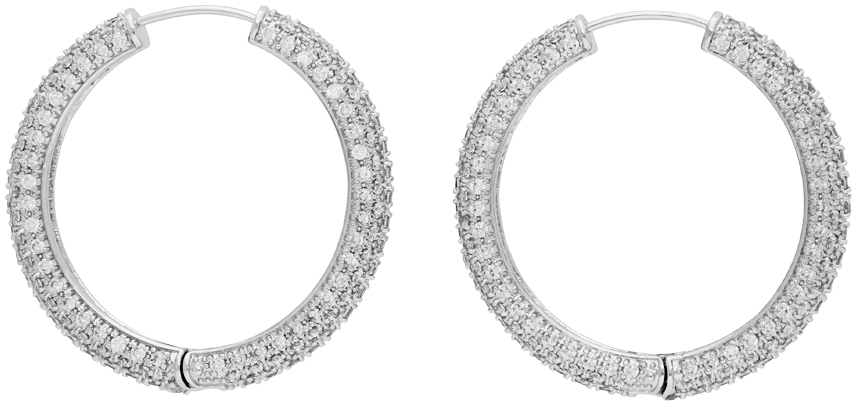 Numbering Silver Large #994 Hoop Earrings