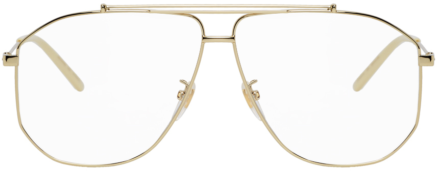 Gucci Gold Oversized Pilot Glasses