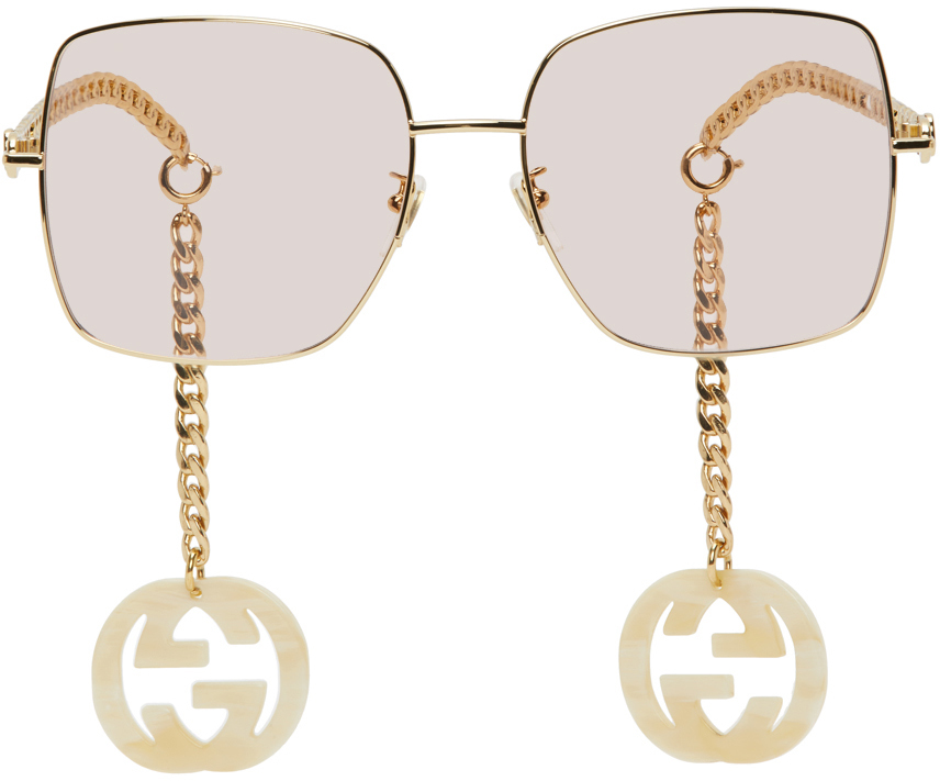 Gucci Gold & Pink GG0724S Sunglasses