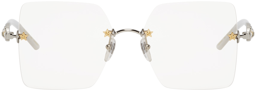 Gucci Silver Rimless Square Glasses