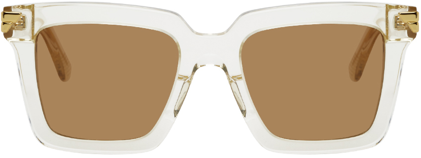 Bottega Veneta Beige Square Sunglasses