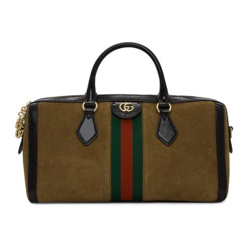 Gucci Brown Suede Medium Ophidia Top Handle Bag