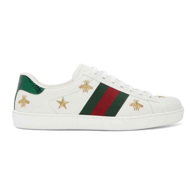 Gucci Embroidered New Ace Leather