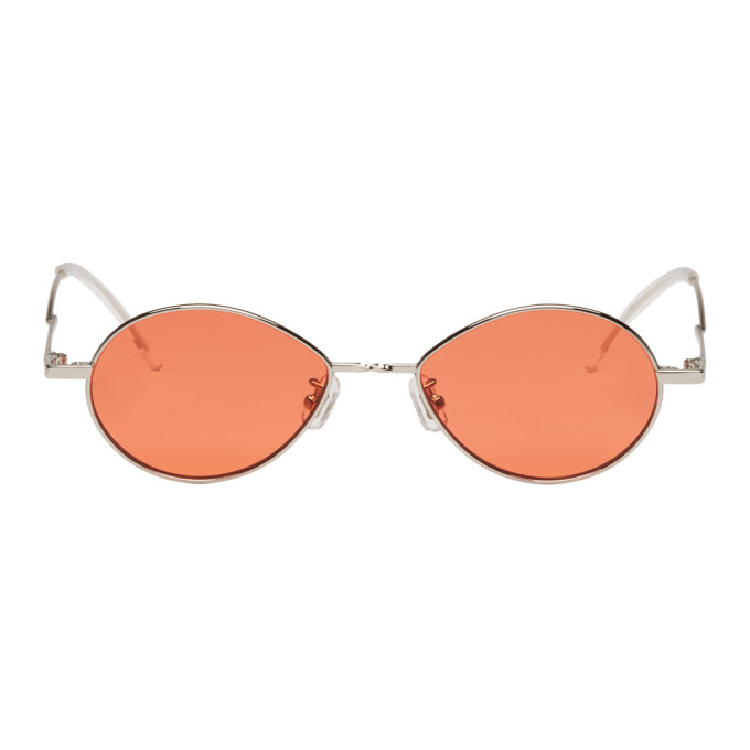 Gentle Monster GENTLE MONSTER SILVER AND ORANGE COBALT SUNGLASSES
