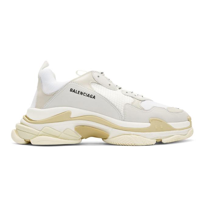Balenciaga Men's Triple S Mesh & Leather Sneakers, White In 9000 White
