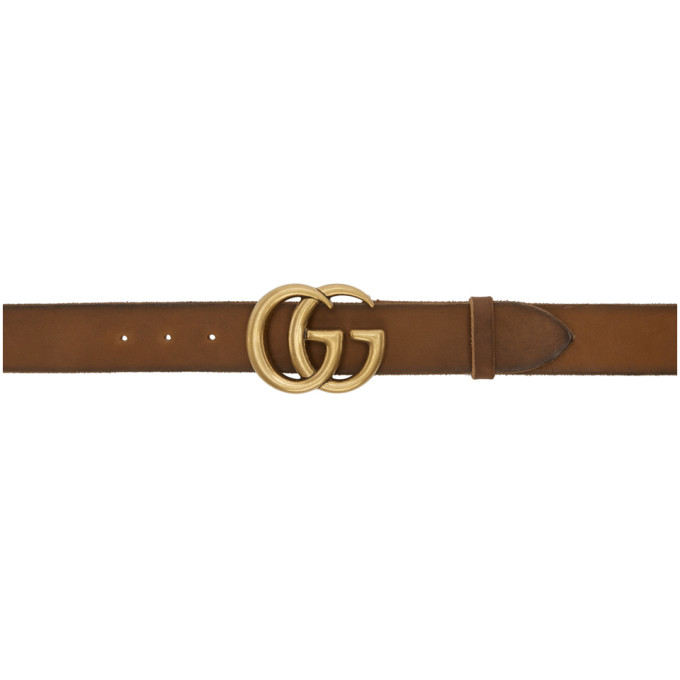 Gucci Men's Leather Belt With Double-G Buckle In 8623 Brown