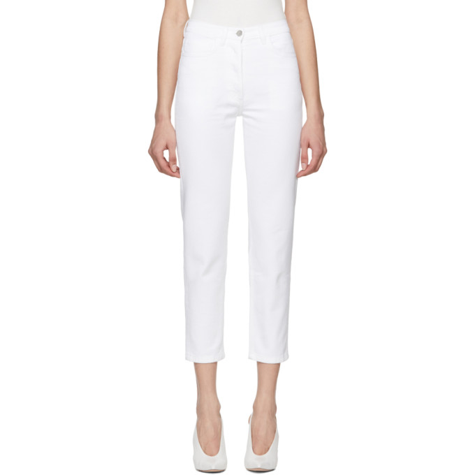 A_plan_application A-PLAN-APPLICATION WHITE STRAIGHT CROPPED JEANS