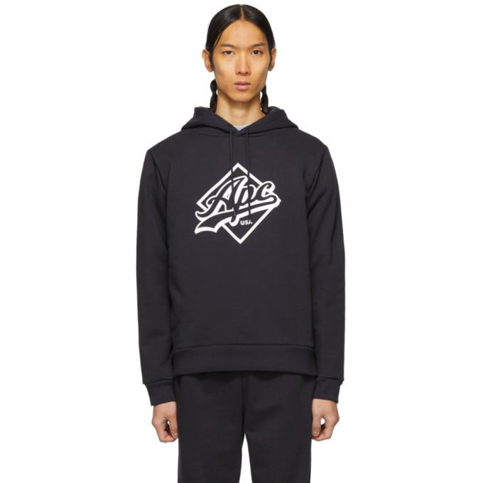 A.P.C. Wayne Logo-Print Hooded Cotton-Blend Sweatshirt In Iak Dk  Nvy