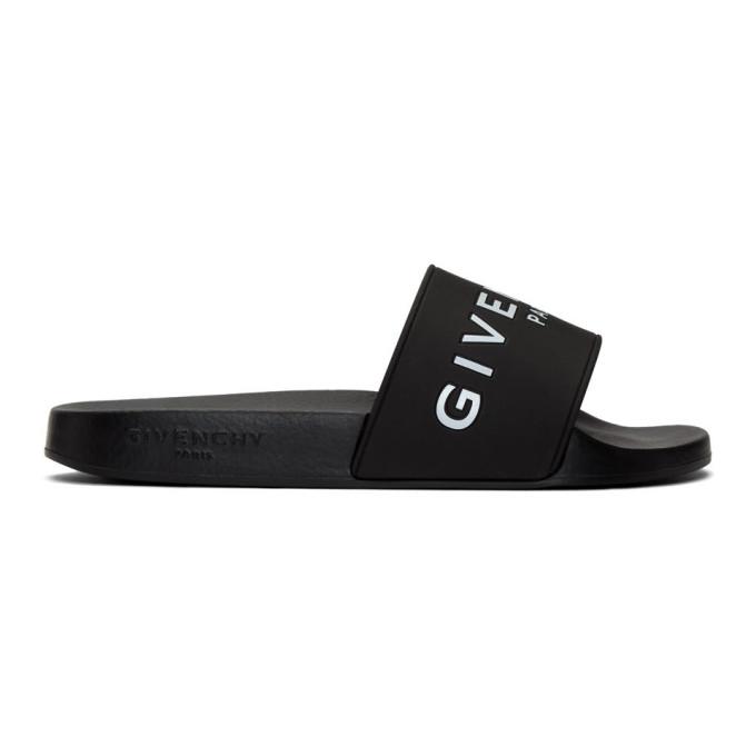 Givenchy Logo-print Rubber Slides In Black