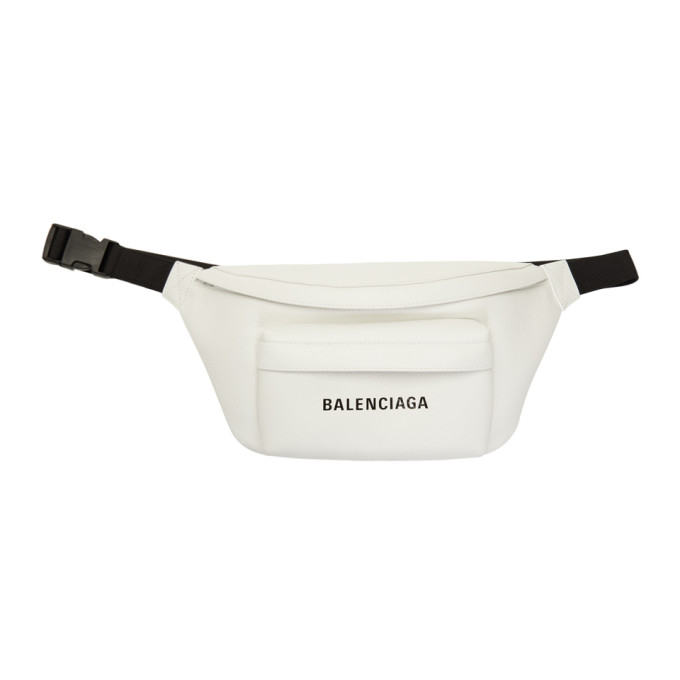 Balenciaga Everyday Pebbled Leather Belt Bag In White