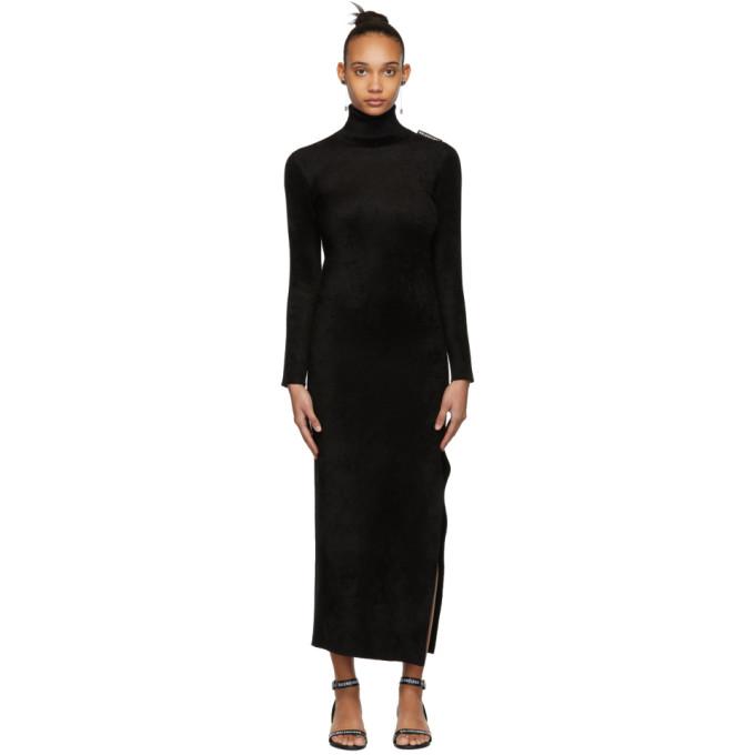 where to buy skate shoes aliexpress Stretch-Velvet Turtleneck Maxi Dress in 1000 Black