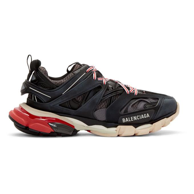 Balenciaga Low-Top Sneakers Track Fabric Mix Logo Black Grey Red In Dark Gray
