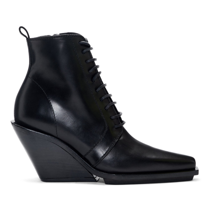 Ann Demeulemeester ANN DEMEULEMEESTER BLACK LACE-UP WEDGE BOOTS