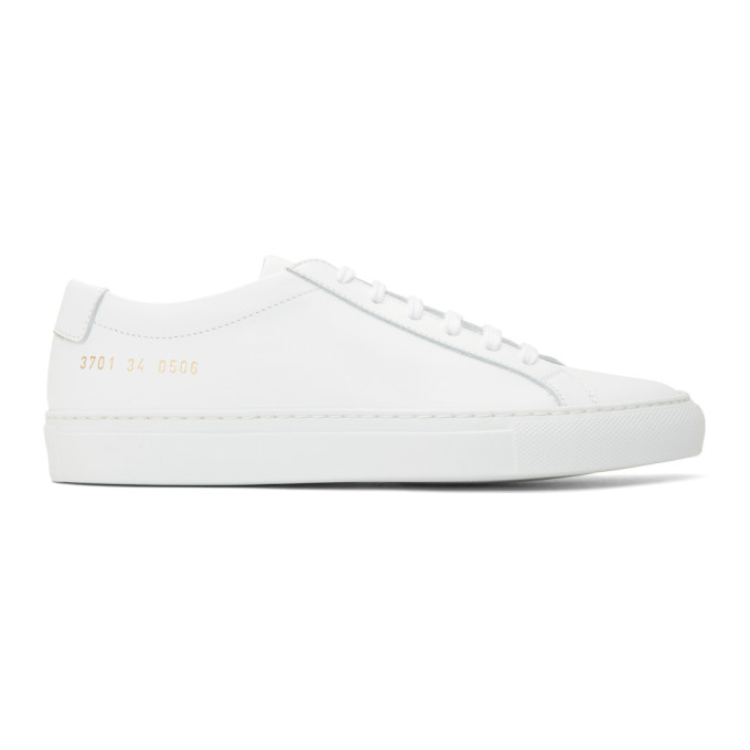 Common Projects Achilles Super Leather And Canvas Sneakers In 0506 White