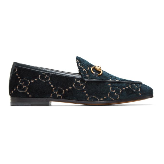 Gucci Jordaan Gg Velvet Loafers In Blue