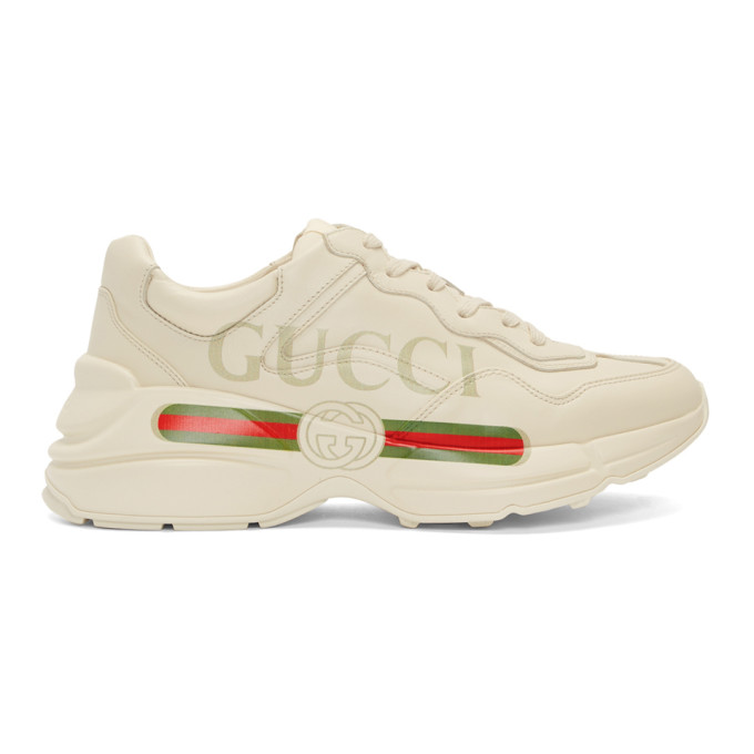 Gucci Off-White Vintage Logo Rhyton Sneakers In 9522 Ivoire