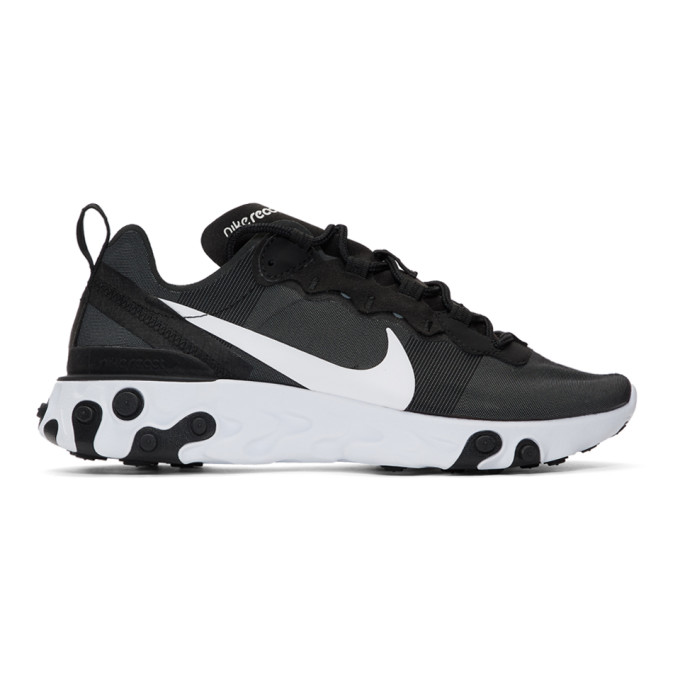 """Nike Black And White """"React Element 55"""" Sneakers In 003Blkwht"""
