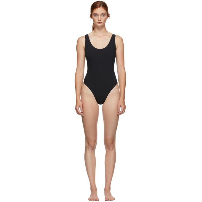 Kiki De Montparnasse KIKI DE MONTPARNASSE BLACK TIED-UP ONE-PIECE SWIMSUIT