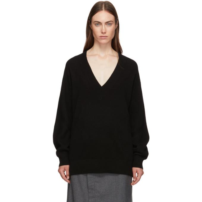 Rag & Bone Rag And Bone Black Cashmere Logan V-Neck Sweater In 1 Black