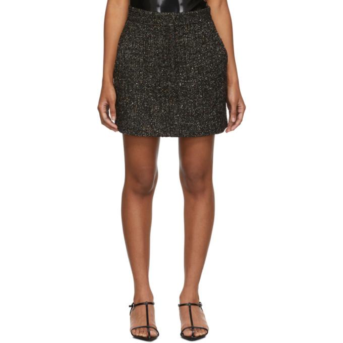 Tibi Multi Color Tweed High Waisted Mini Skirt In Black Multi