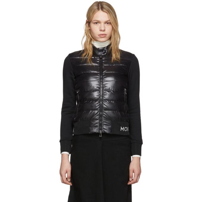 Moncler Techno Down & Cotton Blend Knit Jacket In 999 Black