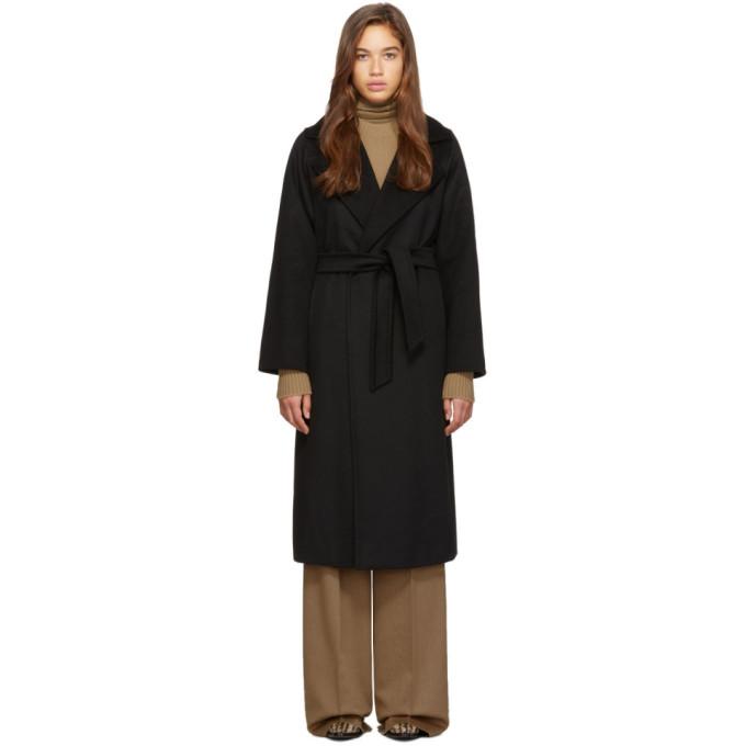 Max Mara Ladies Blue Timeless Manuela Camel Hair Coat In Black