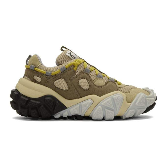 Acne Studios Bolzter Mesh And Suede Sneakers In Multi Brown