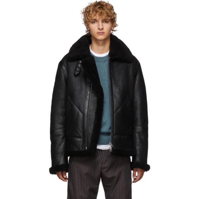 Acne Studios Ian Shearling-Trimmed Suede Jacket In Black