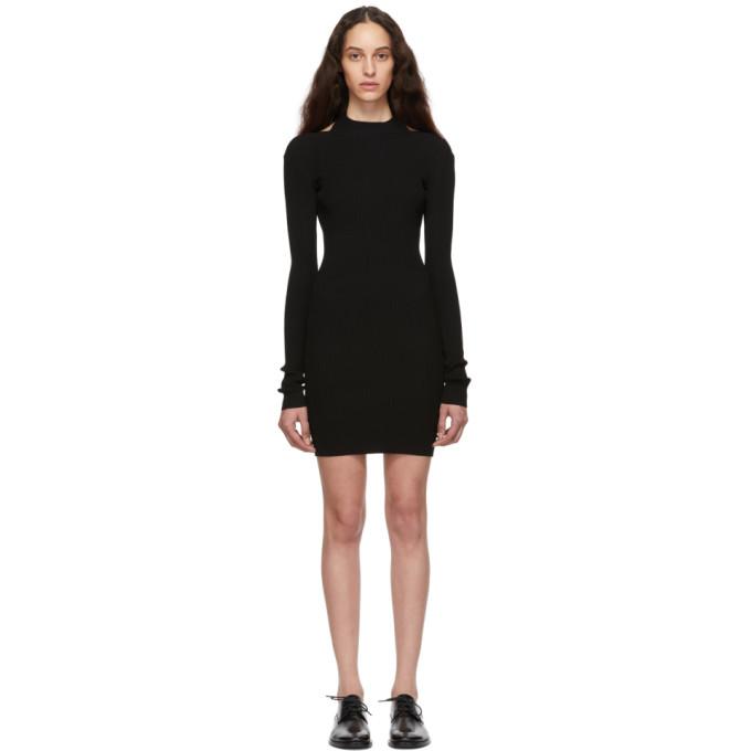 Helmut Lang Open-Back Long-Sleeve Ribbed Dress In Black