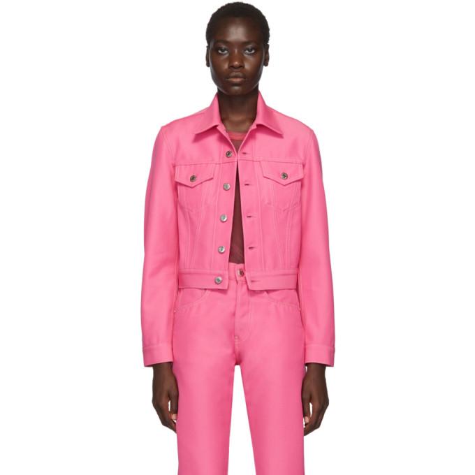 Helmut Lang Masc Cropped Denim Jacket In Prism Pink