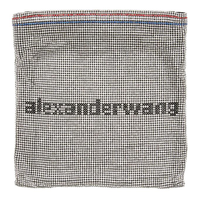 Alexander Wang Wanglock Crystal-Embellished Leather Shoulder Bag In Silver