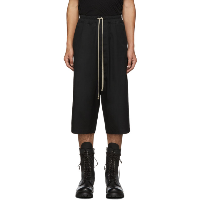 Rick Owens Drkshdw Pods Light Cotton Jersey Shorts In 09 Black