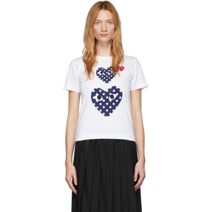 Comme Des Garçons Play Comme Des Garcons Play White Polka Dot Double Heart T-shirt