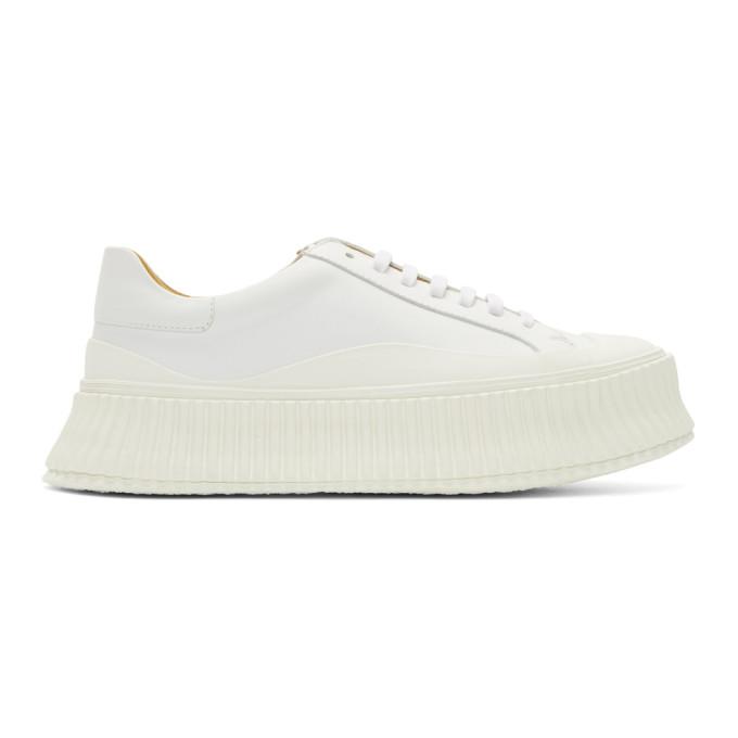 Jil Sander Leather Creeper Sneakers In White In 101 White