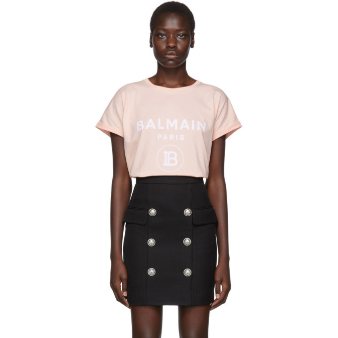 Balmain Flocked Logo Cotton Jersey T-shirt In Oaj Rose/wh